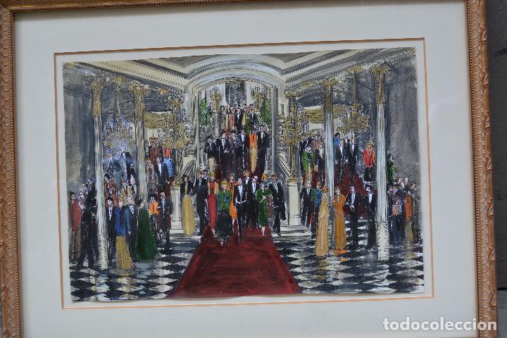 Arte: Celebración, pareja de dibujos, técnica mixta, firma ilegible, con marco. 31x22cm - Foto 2 - 254914795