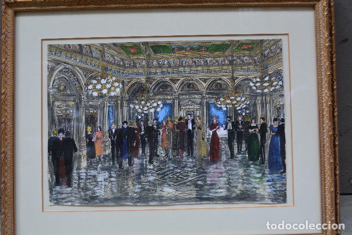 Arte: Celebración, pareja de dibujos, técnica mixta, firma ilegible, con marco. 31x22cm - Foto 3 - 254914795