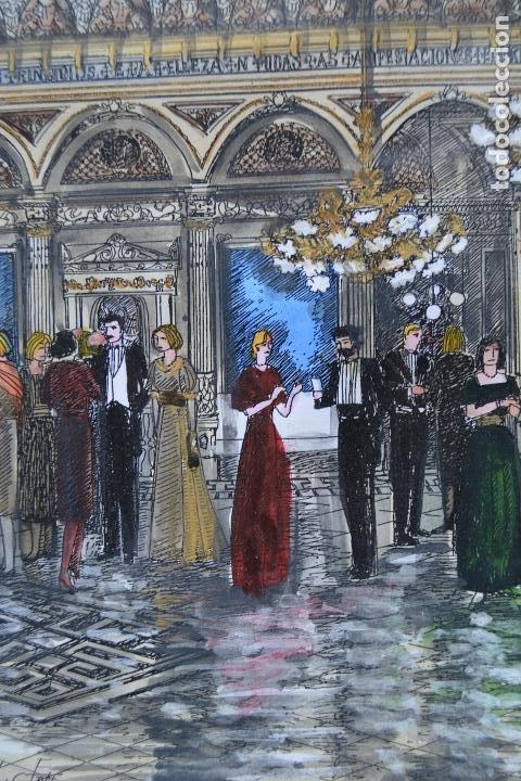Arte: Celebración, pareja de dibujos, técnica mixta, firma ilegible, con marco. 31x22cm - Foto 4 - 254914795