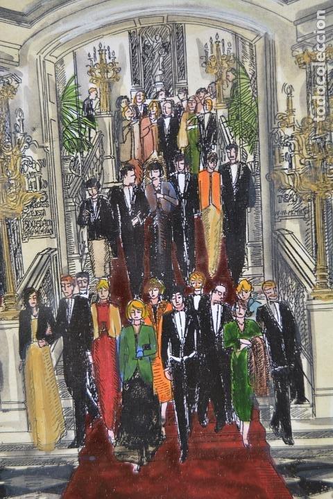 Arte: Celebración, pareja de dibujos, técnica mixta, firma ilegible, con marco. 31x22cm - Foto 7 - 254914795