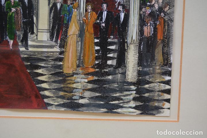 Arte: Celebración, pareja de dibujos, técnica mixta, firma ilegible, con marco. 31x22cm - Foto 8 - 254914795