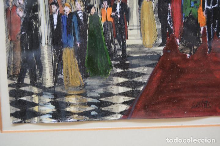 Arte: Celebración, pareja de dibujos, técnica mixta, firma ilegible, con marco. 31x22cm - Foto 9 - 254914795