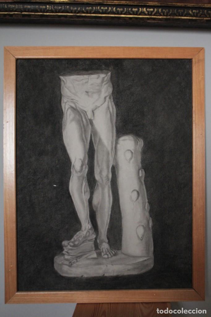 Arte: Desnudo masculino. Carboncillo. Obra de Durá. Pintor Alcoyano. Con marco 69x54cm - Foto 6 - 254938050