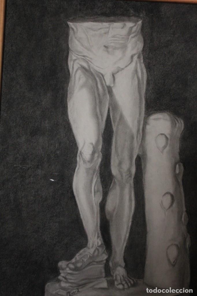 DESNUDO MASCULINO. CARBONCILLO. OBRA DE DURÁ. PINTOR ALCOYANO. CON MARCO 69X54CM (Arte - Dibujos - Contemporáneos siglo XX)