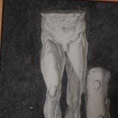 Arte: DESNUDO MASCULINO. CARBONCILLO. OBRA DE DURÁ. PINTOR ALCOYANO. CON MARCO 69X54CM. Lote 254938050