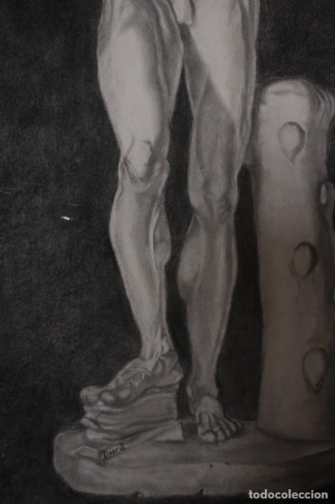 Arte: Desnudo masculino. Carboncillo. Obra de Durá. Pintor Alcoyano. Con marco 69x54cm - Foto 2 - 254938050