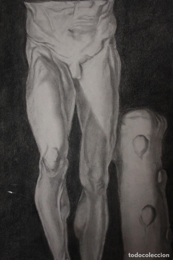 Arte: Desnudo masculino. Carboncillo. Obra de Durá. Pintor Alcoyano. Con marco 69x54cm - Foto 3 - 254938050