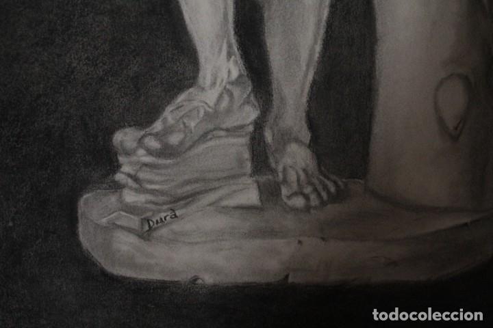 Arte: Desnudo masculino. Carboncillo. Obra de Durá. Pintor Alcoyano. Con marco 69x54cm - Foto 4 - 254938050