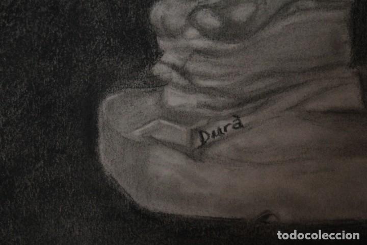 Arte: Desnudo masculino. Carboncillo. Obra de Durá. Pintor Alcoyano. Con marco 69x54cm - Foto 5 - 254938050