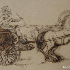 Arte: ESCUELA FRANCESA. HELIOS GUIANDO EL CARRO DEL SOL. SIGLO XVIII. TINTA. 13,3 X 19,6 CM. Lote 254948255