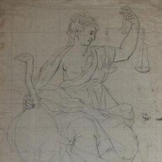 Arte: ALEGORIA DE LA JUSTICIA. ESCUELA ITALIANA. FINAL DEL SIGLO XVIII. LÀPIZ. 52,5 X 38,6 CM.. Lote 254955305