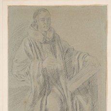 Arte: ESCUELA ESPAÑOLA SIGLO XVIII RETRATO DE UN CLÉRIGO CARBONCILLO SOBRE PAPEL GRIS. 41,7 X 25,4 C. Lote 254957125