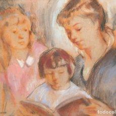 Arte: ISABEL PONS IRANZO (BARCELONA, 1912 - RIO DE JANEIRO, 2002) DIBUJO A PASTEL. LA LECTURA. Lote 255554915