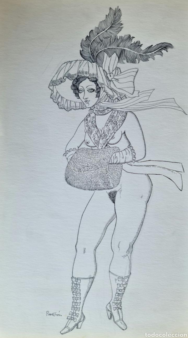 CELEDONIO PERELLON, PRECIOSO DIBUJO ORIGINAL A PLUMILLA, FIRMADO. (Arte - Dibujos - Contemporáneos siglo XX)