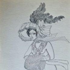 Arte: CELEDONIO PERELLON, PRECIOSO DIBUJO ORIGINAL A PLUMILLA, FIRMADO.. Lote 255557815
