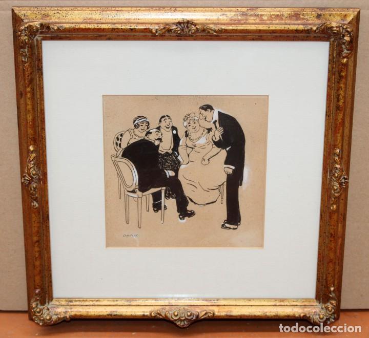Arte: RICARDO OPISSO I SALA - (Tarragona, 1880 - Barcelona, 1966 ), DIBUJO A TINTA Y CLARIÓN. - Foto 2 - 255925815