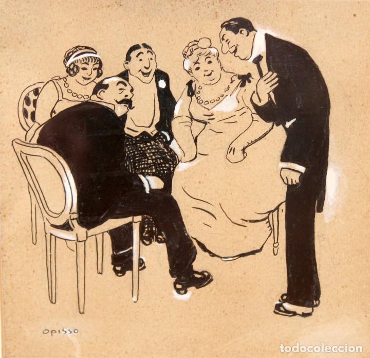 RICARDO OPISSO I SALA - (TARRAGONA, 1880 - BARCELONA, 1966 ), DIBUJO A TINTA Y CLARIÓN. (Arte - Dibujos - Contemporáneos siglo XX)