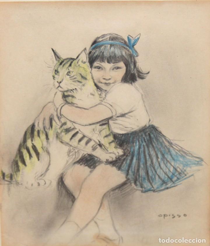 RICARDO OPISSO I SALA - (1880-1966) - NIÑA Y GATO - DIBUJO A COLOR. (Arte - Dibujos - Contemporáneos siglo XX)