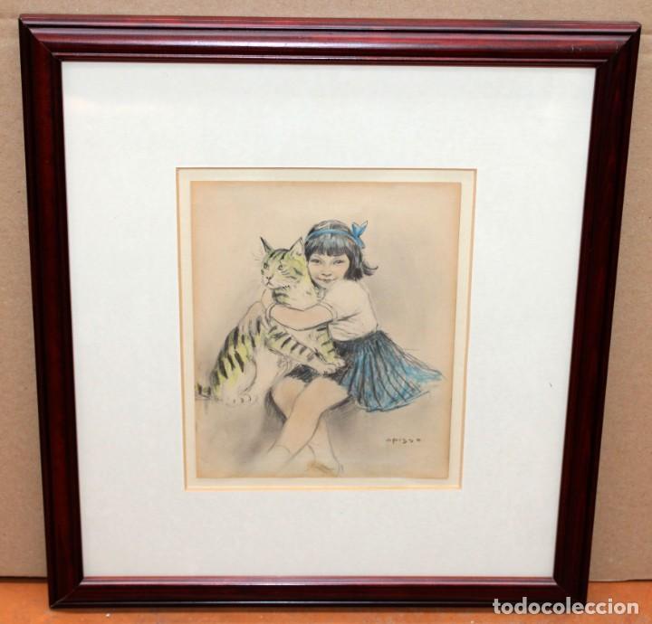 Arte: RICARDO OPISSO I SALA - (1880-1966) - NIÑA Y GATO - DIBUJO A COLOR. - Foto 2 - 255925910