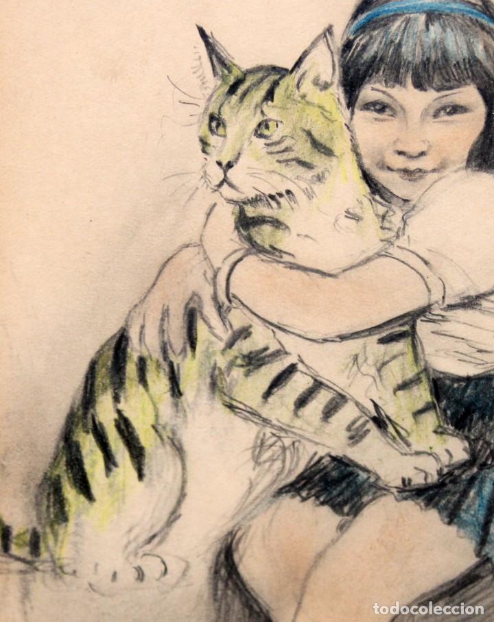 Arte: RICARDO OPISSO I SALA - (1880-1966) - NIÑA Y GATO - DIBUJO A COLOR. - Foto 4 - 255925910