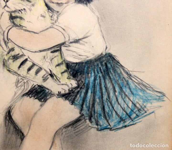 Arte: RICARDO OPISSO I SALA - (1880-1966) - NIÑA Y GATO - DIBUJO A COLOR. - Foto 5 - 255925910