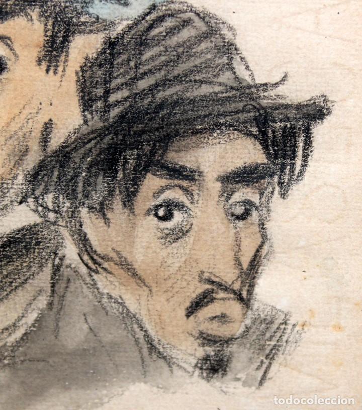 Arte: RICARDO OPISSO I SALA (1880-1966) - DIBUJO AL CARBÓN Y ACUARELA- ÈPOCA PARÍS. - Foto 3 - 255926045