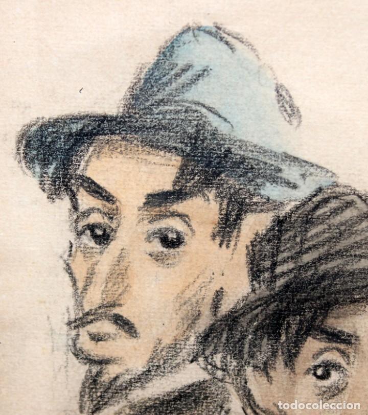Arte: RICARDO OPISSO I SALA (1880-1966) - DIBUJO AL CARBÓN Y ACUARELA- ÈPOCA PARÍS. - Foto 4 - 255926045