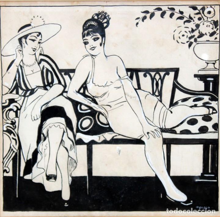 RICARDO OPISSO I SALA - (1880-1966),- DIBUJO EROTICO - TINTA Y CLARIÓN. (Arte - Dibujos - Contemporáneos siglo XX)