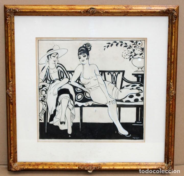 Arte: RICARDO OPISSO I SALA - (1880-1966),- DIBUJO EROTICO - TINTA Y CLARIÓN. - Foto 2 - 255926180