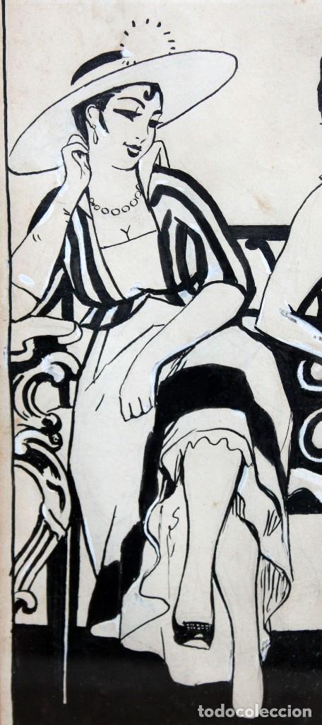 Arte: RICARDO OPISSO I SALA - (1880-1966),- DIBUJO EROTICO - TINTA Y CLARIÓN. - Foto 3 - 255926180