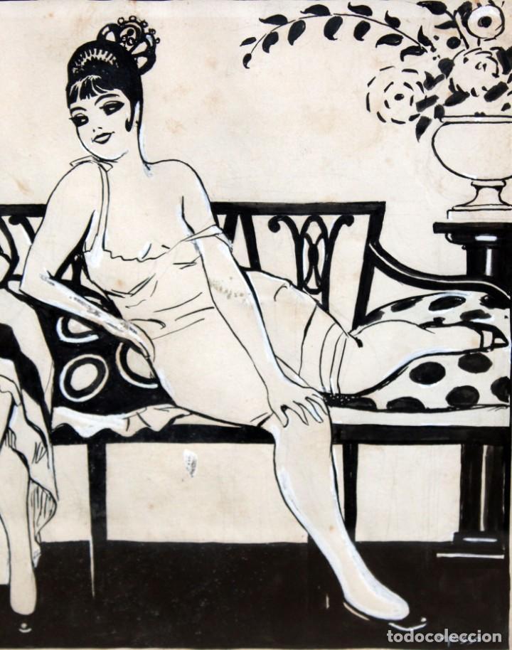Arte: RICARDO OPISSO I SALA - (1880-1966),- DIBUJO EROTICO - TINTA Y CLARIÓN. - Foto 5 - 255926180