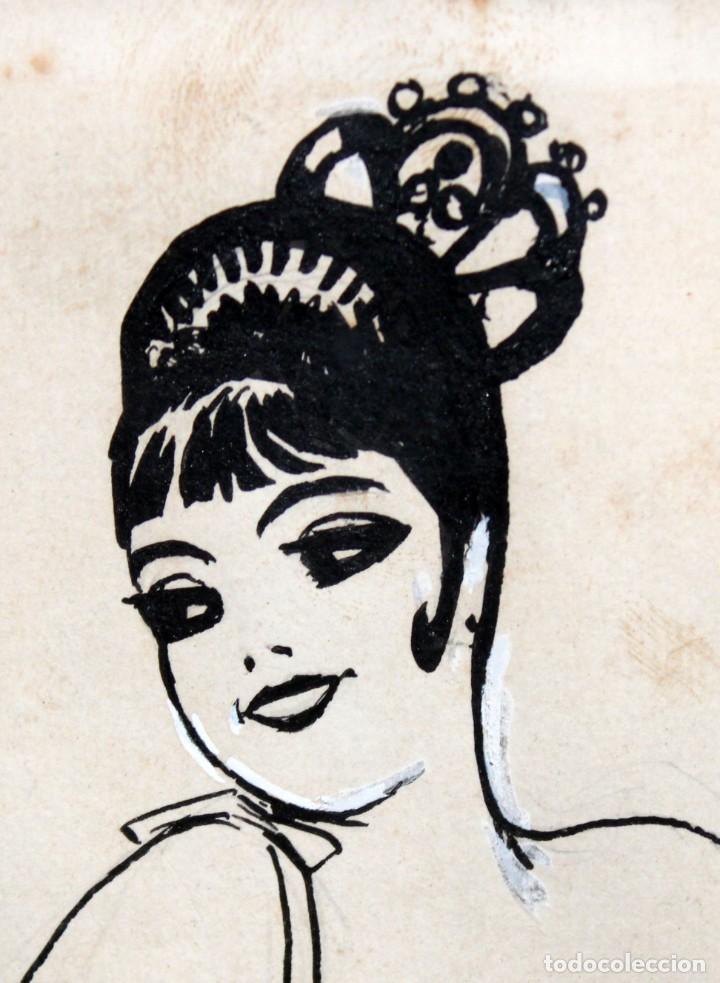 Arte: RICARDO OPISSO I SALA - (1880-1966),- DIBUJO EROTICO - TINTA Y CLARIÓN. - Foto 6 - 255926180
