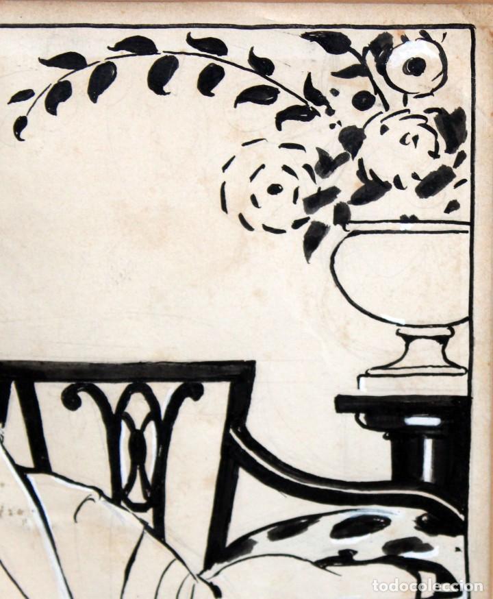 Arte: RICARDO OPISSO I SALA - (1880-1966),- DIBUJO EROTICO - TINTA Y CLARIÓN. - Foto 7 - 255926180