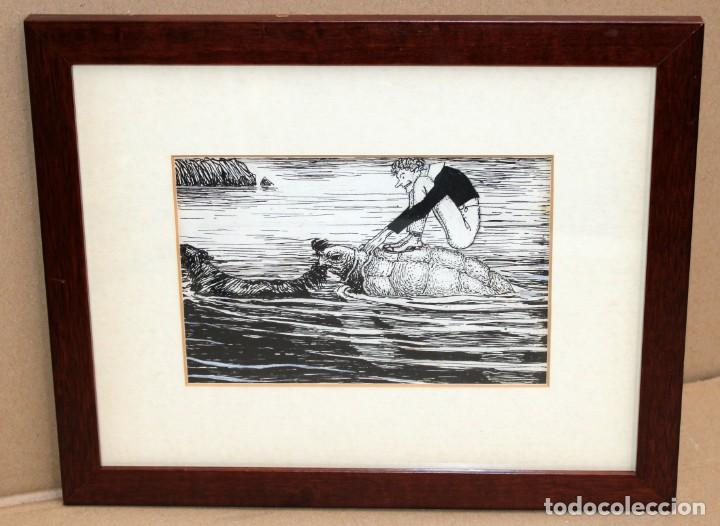 Arte: JOAN GARCIA JUNCEDA SUPERVIA - MASSAGRAN - DIBUJO CON CERTIFICADO - 11,5 x 17,5 CM. - Foto 2 - 255926400