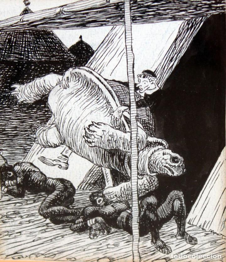 JOAN GARCIA JUNCEDA SUPERVIA - MASSAGRAN - DIBUJO CON CERTIFICADO - 14 X 11,5 CM. (Arte - Dibujos - Contemporáneos siglo XX)