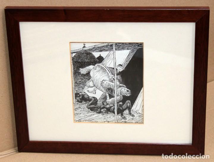 Arte: JOAN GARCIA JUNCEDA SUPERVIA - MASSAGRAN - DIBUJO CON CERTIFICADO - 14 x 11,5 CM. - Foto 2 - 255927035
