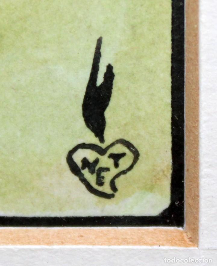 Arte: GAIETÀ CORNET PALAU - DIBUJO A TINTA Y ACUARELA - 10,5 x 17 cm - EL DUELO. - Foto 6 - 255927970