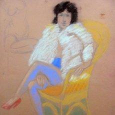 Arte: JORDI CURÓS PASTEL/PAPEL 65 X 50 CM. FIRMADO. AÑOS 60-70.. Lote 255998400