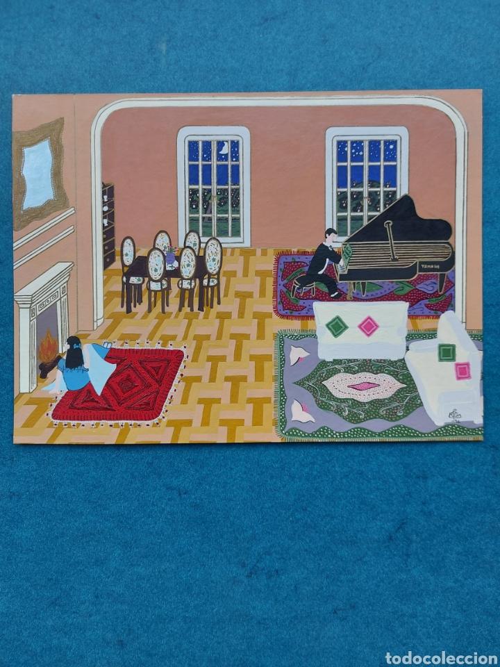 """""""PASANDO UNA VELADA EN EL SALON"""" PINTURA NAIF 1992 (Arte - Dibujos - Contemporáneos siglo XX)"""