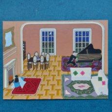 """Arte: """"PASANDO UNA VELADA EN EL SALON"""" PINTURA NAIF 1992. Lote 256017555"""