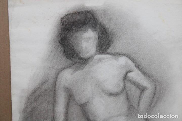 Arte: ANONIMO. DIBUJO A CARBON. RETRATO FEMENINO - Foto 2 - 256138985