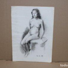 Arte: ANONIMO. DIBUJO A CARBON. DESNUDO FEMENINO. Lote 256148120