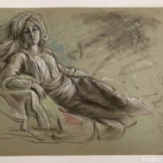 Arte: CARBONCILLO SOBRE PAPEL , RETRATO MUJER. Lote 257091655