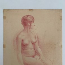 Arte: DESNUDO FEMENINO SANGUINA SOBRE PAPEL SIGLO XIX. Lote 257269025