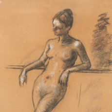 Arte: RAMON RIBAS RIUS (BARCELONA, 1903 - 1983) DIBUJO A CARBON Y TOQUES DE CLARION. DESNUDO FEMENINO. Lote 257346710