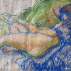 Arte: DESNUDO, DIBUJO A LAS CERAS SOBRE LÁMINA FIRMADO A. MUNILL, 73X52 CM. Lote 257443215