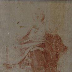 Arte: FIGURA ALEGÓRICA. ESTUDIO DE PAÑOS. ESCUELA ESPAÑOLA, SIGLO XVIII. SANGUINA, 33 X 23,2 CM. Lote 257767605