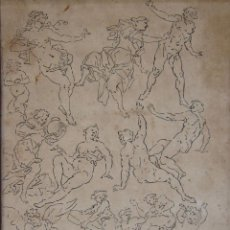 Arte: ATRIBUIDO A NICOLAU TRAVER. ESTUDIOS DE FIGURAS TINTA A PLUMA. 21,5 X 15,5 CM.. Lote 257787735