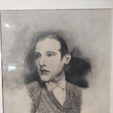 Arte: DIBUJO FIRMADO POR A. LOPEZ. FECHADO 1921. RETRATO DE HOMBRE. ENMARCADO 41X36CM. Lote 257989295