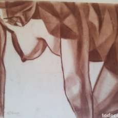 Arte: PECHO Y CONTRASTES. DIBUJO INSPIRACION CUBISTA. SANGUINA. 45X32CM. FIRMADO S.ESTRANY.. Lote 258869420